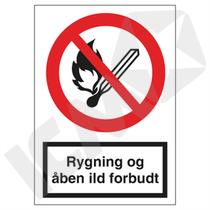 F104VA4 Rygning og åben ild forbudt  A4
